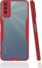 Vivo Y20 Kılıf Kamera Lens Korumalı Arkası Şeffaf Silikon Kapak - Kırmızı