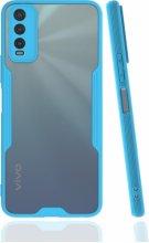 Vivo Y20 Kılıf Kamera Lens Korumalı Arkası Şeffaf Silikon Kapak - Mavi