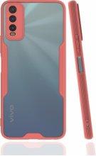 Vivo Y20 Kılıf Kamera Lens Korumalı Arkası Şeffaf Silikon Kapak - Pembe
