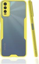 Vivo Y20 Kılıf Kamera Lens Korumalı Arkası Şeffaf Silikon Kapak - Sarı