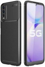 Vivo Y20 Kılıf Karbon Serisi Mat Fiber Silikon Negro Kapak - Siyah