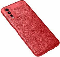 Vivo Y20s Kılıf Deri Görünümlü Parmak İzi Bırakmaz Niss Silikon - Kırmızı