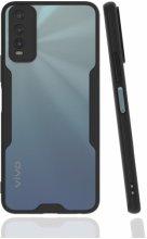 Vivo Y20s Kılıf Kamera Lens Korumalı Arkası Şeffaf Silikon Kapak - Siyah