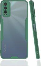 Vivo Y20s Kılıf Kamera Lens Korumalı Arkası Şeffaf Silikon Kapak - Yeşil