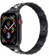 Wiwu Apple Watch 44mm Metal Kordon Boncuklu Three Beads - Siyah