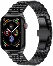 Wiwu Apple Watch 44mm Metal Kordon Seven Beads Steel Belt - Siyah