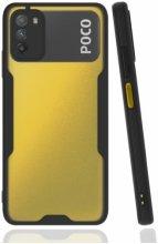Xiaomi Poco M3 Kılıf Kamera Lens Korumalı Arkası Şeffaf Silikon Kapak - Siyah