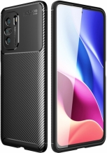 Xiaomi Redmi K40 Kılıf Karbon Serisi Mat Fiber Silikon Negro Kapak - Siyah