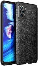 Xiaomi Redmi Note 10 Kılıf Deri Görünümlü Parmak İzi Bırakmaz Niss Silikon - Siyah