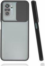 Xiaomi Redmi Note 10 Kılıf Silikon Sürgülü Lens Korumalı Buzlu Şeffaf - Siyah