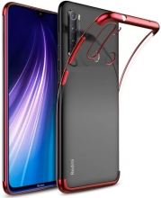 Xiaomi Redmi Note 8 Kılıf Renkli Köşeli Lazer Şeffaf Esnek Silikon - Kırmızı