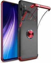 Xiaomi Redmi Note 8 Kılıf Renkli Köşeli Yüzüklü Standlı Lazer Şeffaf Esnek Silikon - Kırmızı