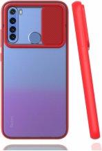 Xiaomi Redmi Note 8 Kılıf Silikon Sürgülü Lens Korumalı Buzlu Şeffaf - Kırmızı