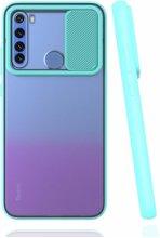 Xiaomi Redmi Note 8 Kılıf Silikon Sürgülü Lens Korumalı Buzlu Şeffaf - Turkuaz