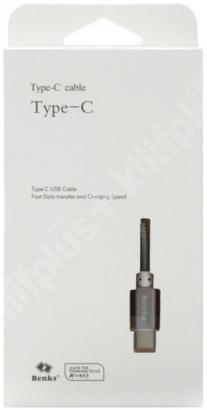 Benks Type-C Hızlı Şarj Data Kablosu 1m - Gri