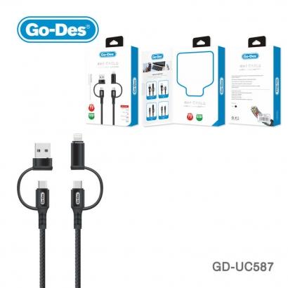 Go Des GD-UC587 4 in 1 Type-C-Lightning To PD-Usb Kablo - Siyah