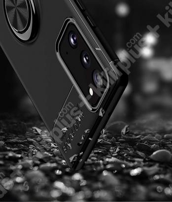 Samsung Galaxy S20 FE Kılıf Auto Focus Serisi Soft Premium Standlı Yüzüklü Kapak - Mavi Siyah