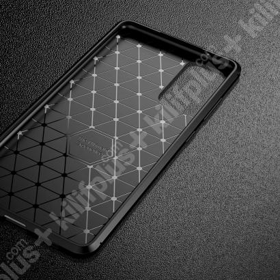 Samsung Galaxy S20 FE Kılıf Karbon Serisi Mat Fiber Silikon Kapak - Kahverengi
