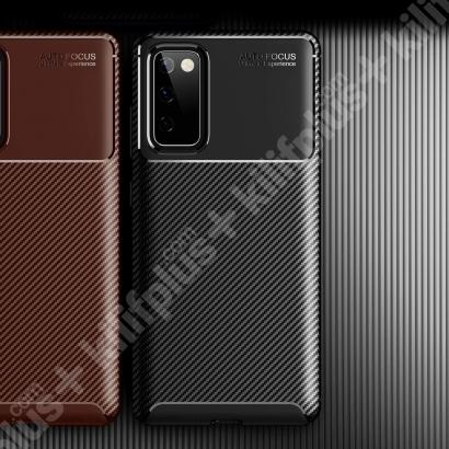 Samsung Galaxy S20 FE Kılıf Karbon Serisi Mat Fiber Silikon Kapak - Lacivert
