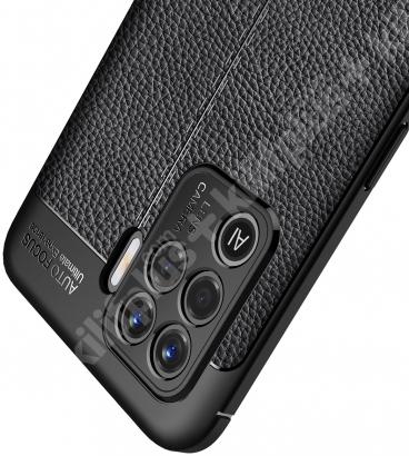 Oppo Reno 5 Lite Kılıf Deri Görünümlü Parmak İzi Bırakmaz Niss Silikon - Siyah