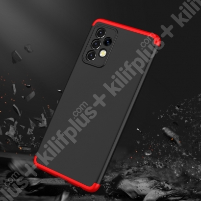Samsung Galaxy A72 Kılıf 3 Parçalı 360 Tam Korumalı Rubber AYS Kapak  - Kırmızı - Siyah