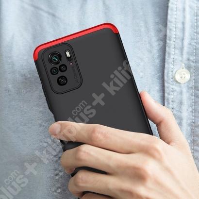 Xiaomi Redmi Note 10 Kılıf 3 Parçalı 360 Tam Korumalı Rubber AYS Kapak - Kırmızı Siyah