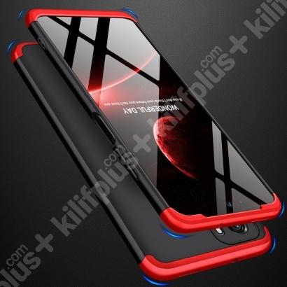 Xiaomi Redmi Note 10s Kılıf 3 Parçalı 360 Tam Korumalı Rubber AYS Kapak - Kırmızı Siyah