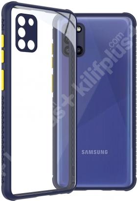 Samsung Galaxy A31 Kılıf Arkası Şeffaf Cam Kenarları Kabartmalı Silikon Kaliteli Tank Kapak - Siyah