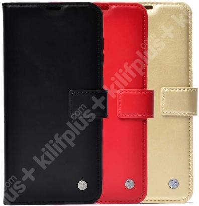 Samsung Galaxy A52 Kılıf Standlı Kartlıklı Cüzdanlı Kapaklı - Gold