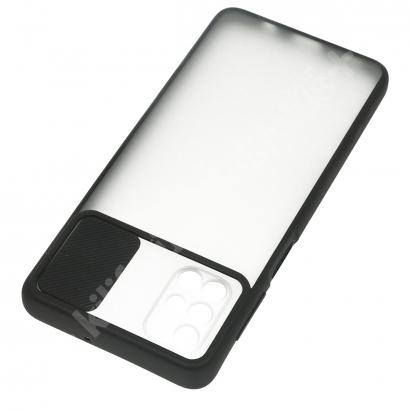 Samsung Galaxy M31s Kılıf Silikon Sürgülü Lens Korumalı Buzlu Şeffaf - Siyah