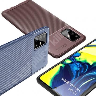 Samsung Galaxy M51 Kılıf Karbon Serisi Mat Fiber Silikon Kapak - Siyah