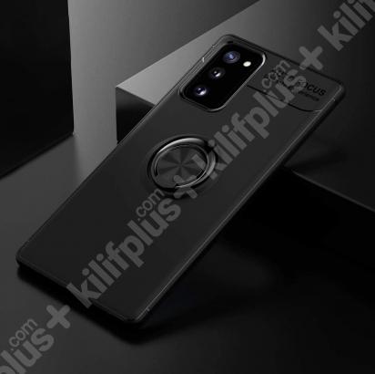 Samsung Galaxy S20 FE Kılıf Auto Focus Serisi Soft Premium Standlı Yüzüklü Kapak - Siyah