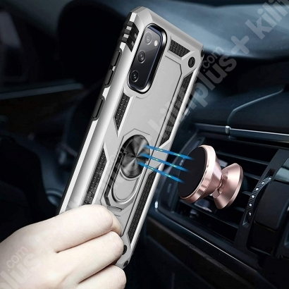 Samsung Galaxy S20 FE Kılıf Zırhlı Standlı Vega Kapak - Gri