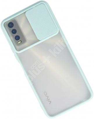 Vivo Y20 Kılıf Silikon Sürgülü Lens Korumalı Buzlu Şeffaf - Turkuaz