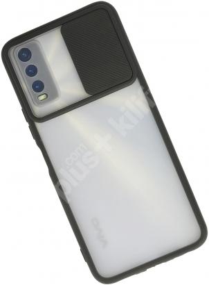 Vivo Y20s Kılıf Silikon Sürgülü Lens Korumalı Buzlu Şeffaf - Siyah