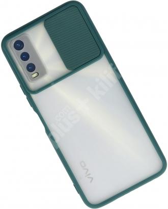 Vivo Y20s Kılıf Silikon Sürgülü Lens Korumalı Buzlu Şeffaf - Yeşil