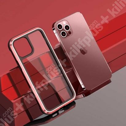 Wiwu Apple iPhone 12 Pro (6.1) Kılıf Defence Armor Serisi Arkası Şeffaf Lisanslı Kapak - Kırmızı