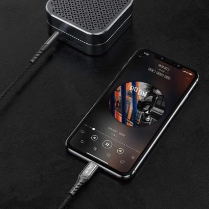 Wiwu Lightning Örgülü Aux Ses Kablo 1.5mt - Siyah