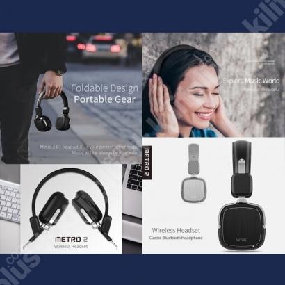 Wiwu Oyuncu Mikrofonlu Kablosuz Bluetooth Wireless Kulaklığı Metro 2 - Siyah