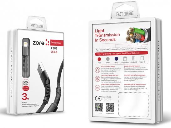 Zore LS65 Lightning USB Hızlı Şarj Data Kablosu 3m - Siyah
