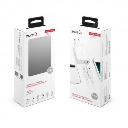 Zore xMac Serisi Micro-USB 2 in 1 Çift Giriş Hızlı Şarj Seti QC 3.4A/18w - Beyaz